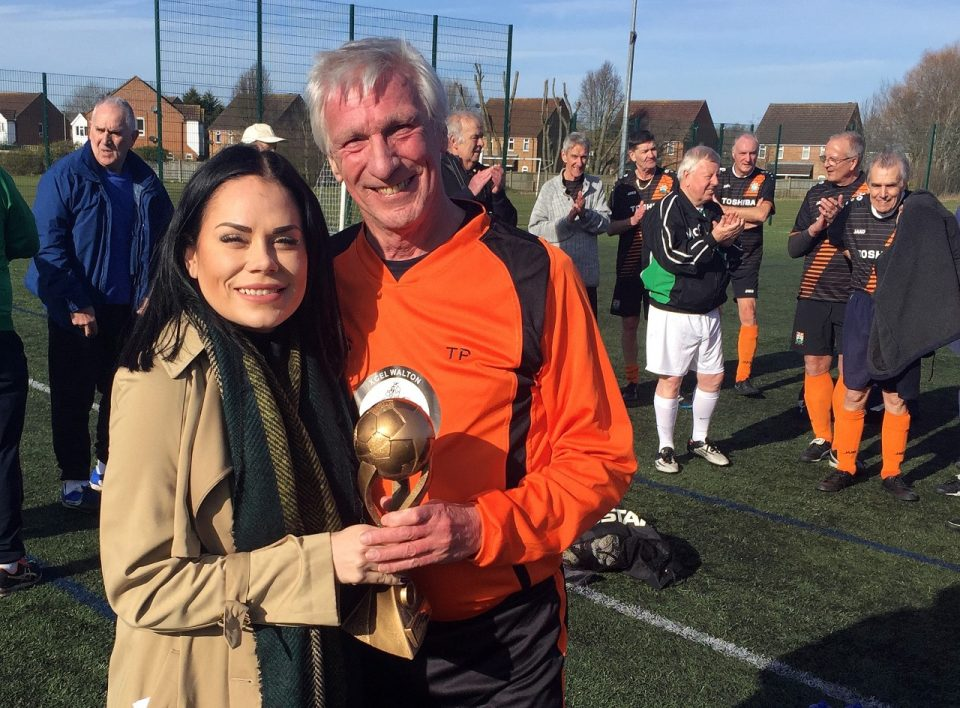 Cove FC Over 65's Tournament - Tony Proud, Proudly Receiving The Trophy On Behalf Of The Walton Walking Football Team